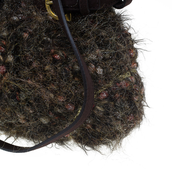 Salvatore Ferragamo Brown Metallic Wool Marisa Satchel