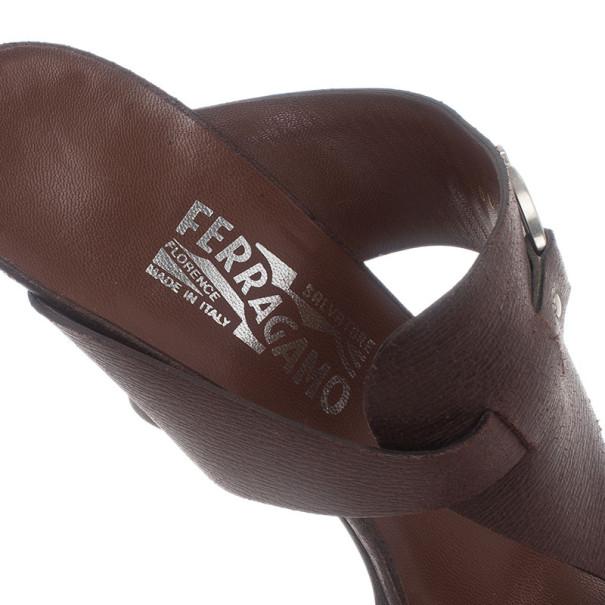 Salvatore Ferragamo Brown Leather Gancini Bit Slides Size 40
