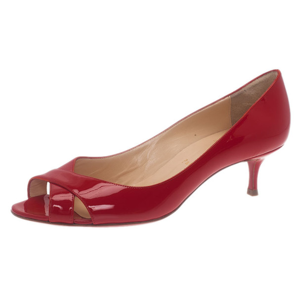 Christian Louboutin Red Patent Croisette Criss Cross Pumps Size 38.5