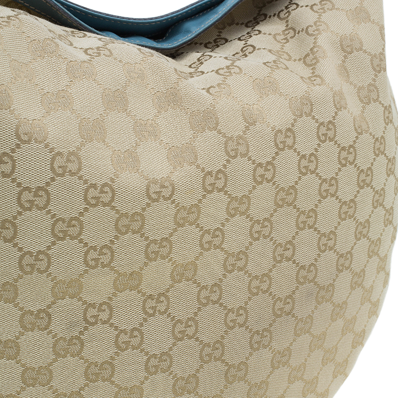 Gucci Beige Canvas GG Horsebit Catena Hobo Bag