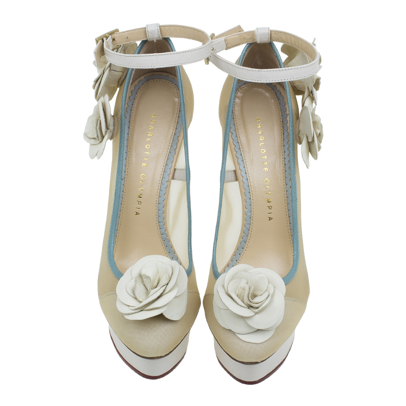 Charlotte Olympia Cream Mesh Flora Ankle Strap Pumps Size 37