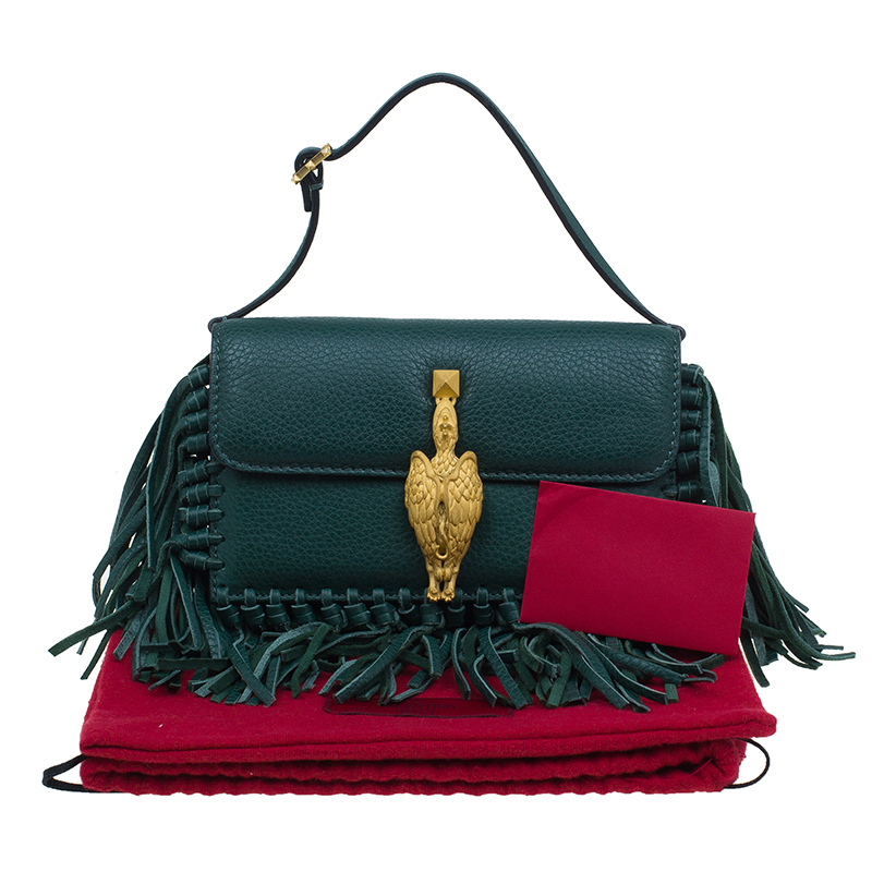 Valentino Green Leather Gryphon Fringed Clutch Bag