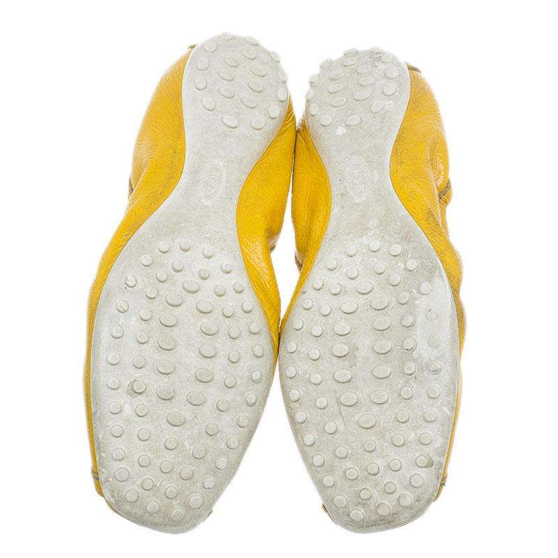 Tod's Yellow Patent Peep Toe Ballet Flats Size 38