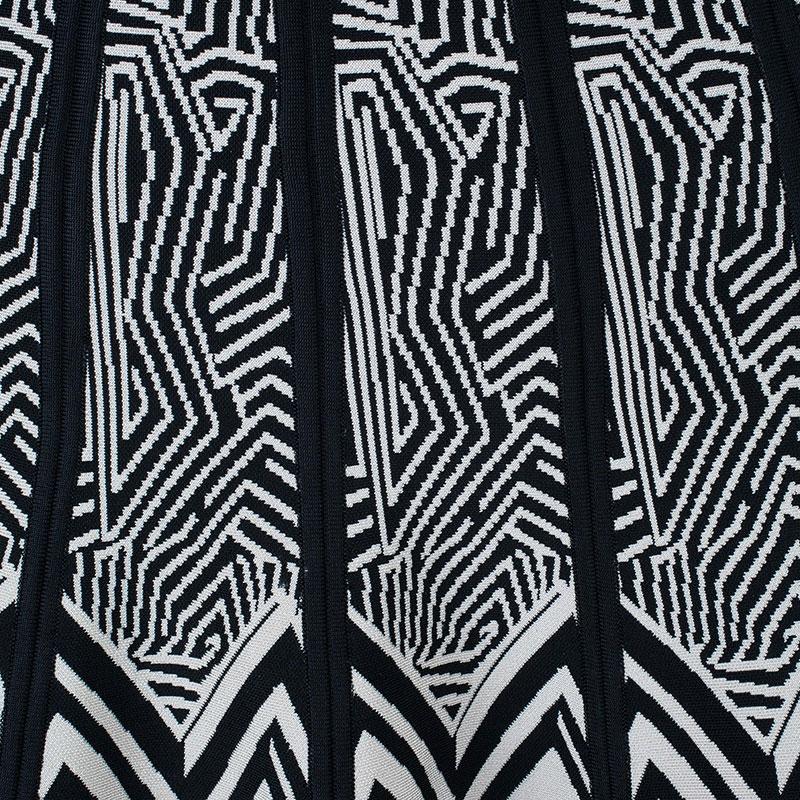 Herve Leger Black and White Bandage Skirt XS