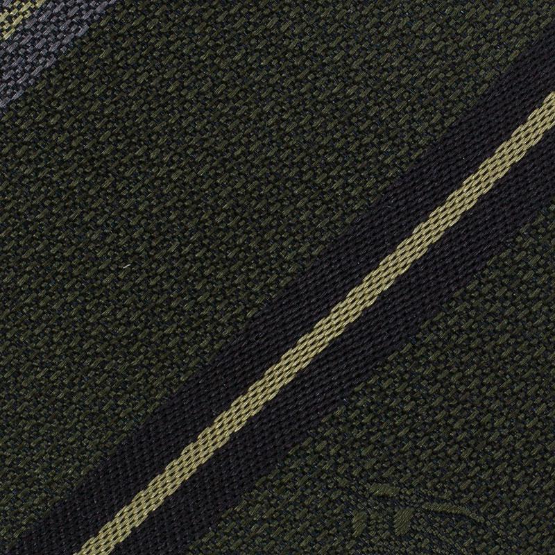Burberry Olive Green Striped Silk Tie