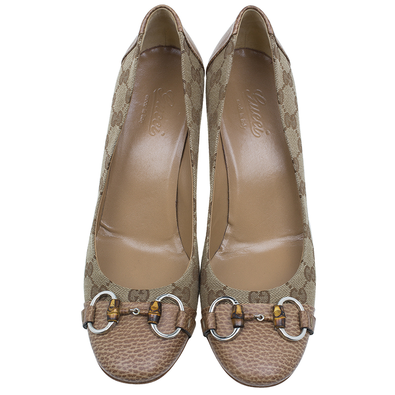 Gucci Brown Guccissima Canvas and Leather Kitty Horsebit Pumps Size 40