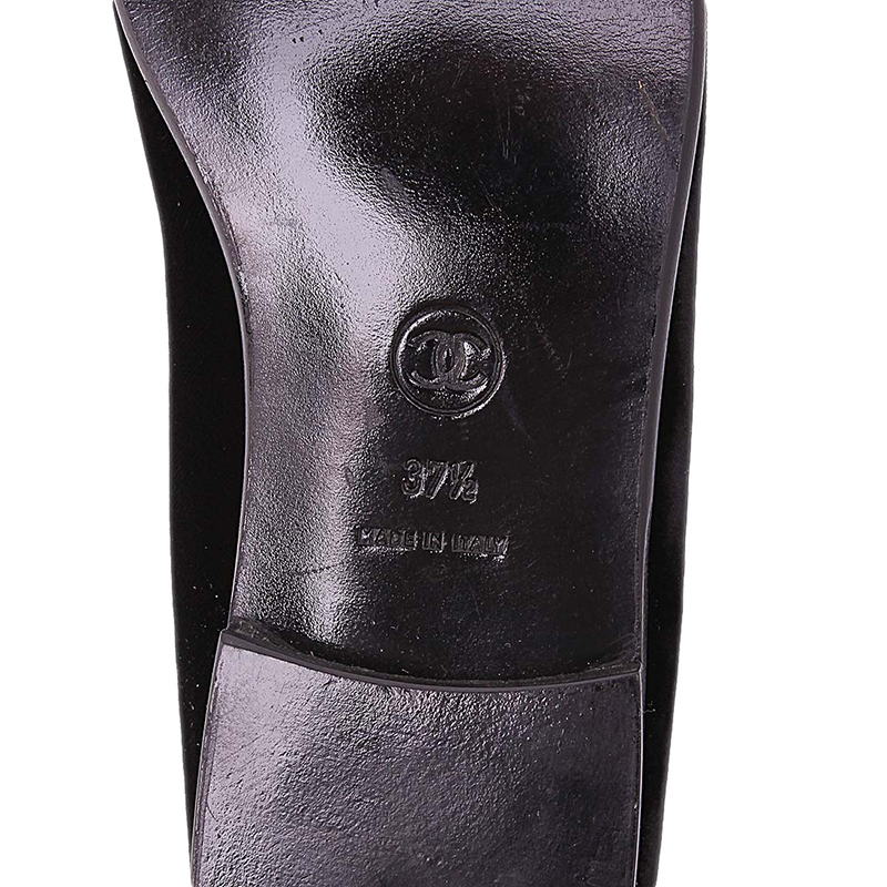 Chanel Black Velvet CC Smoking Slippers Size 37.5