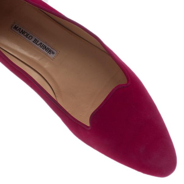 Manolo Blahnik Pink Suede Yak Smoking Slippers Size 39.5