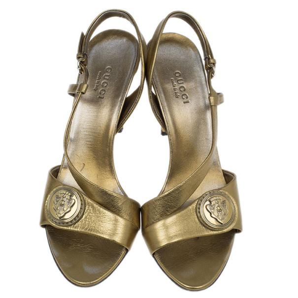 Gucci Bronze Metallic Hysteria Slingback Sandals Size 37