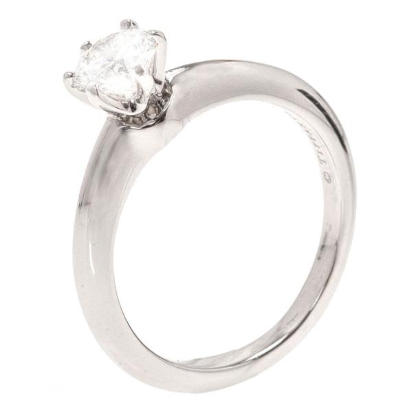 Tiffany & Co. Solitaire 0.54ct G VS1 Diamond Platinum Ring Size 50