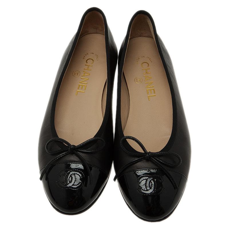 Chanel Black Leather CC Cap Toe Bow Ballet Flats Size 37.5
