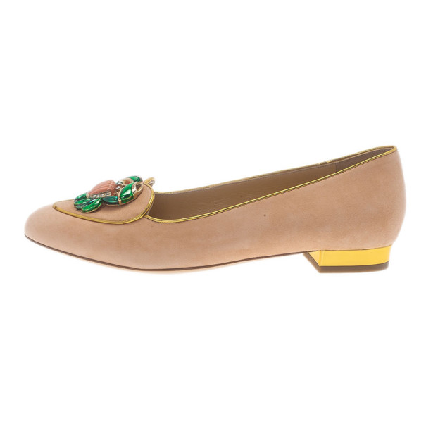 Charlotte Olympia Pink Suede Cancer Smoking Slippers Size 38.5