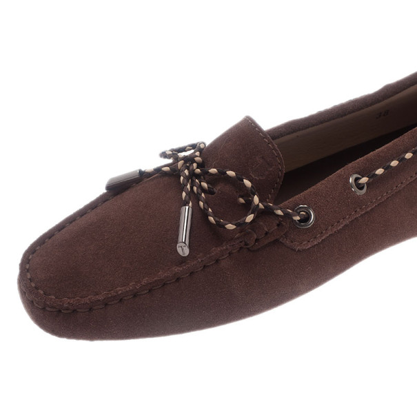 Tod's Brown Suede Bow Loafers Size 38