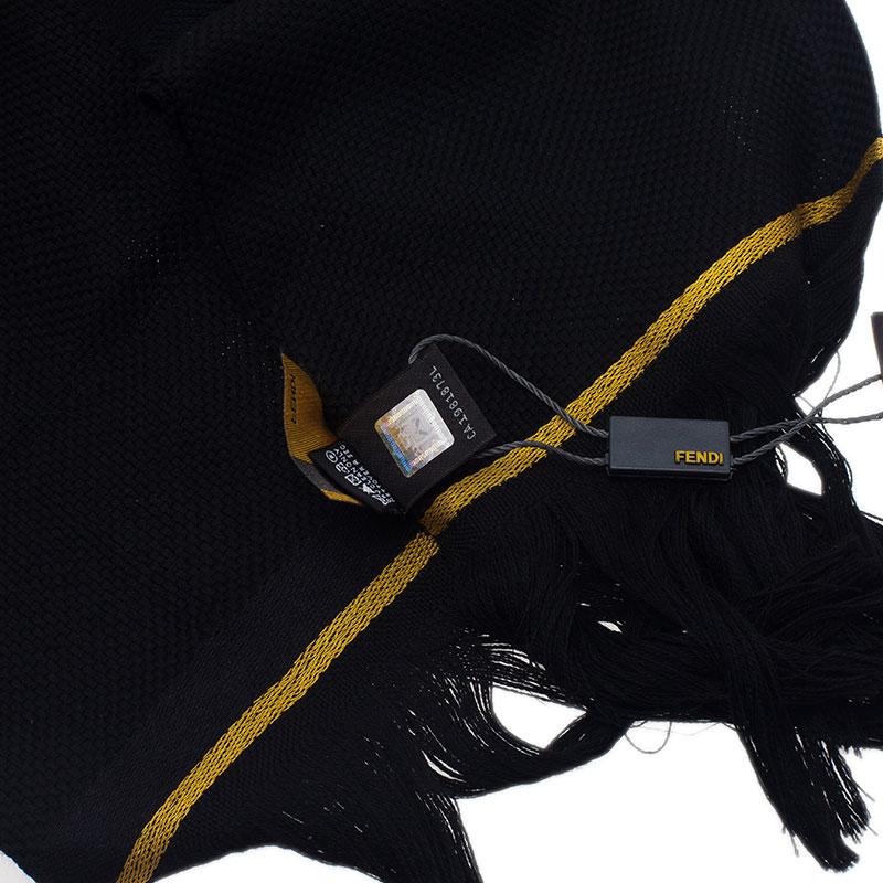 Fendi Black and Yellow Wool Jacquard Stole