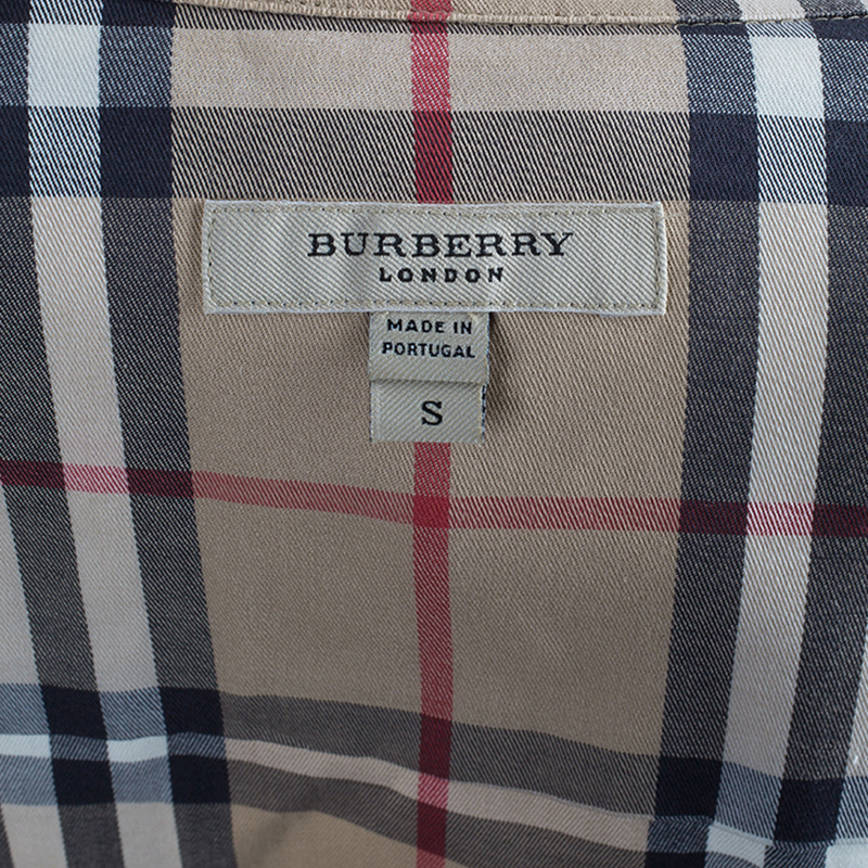 Burberry Novacheck 3/4 Sleeve Cotton Top S