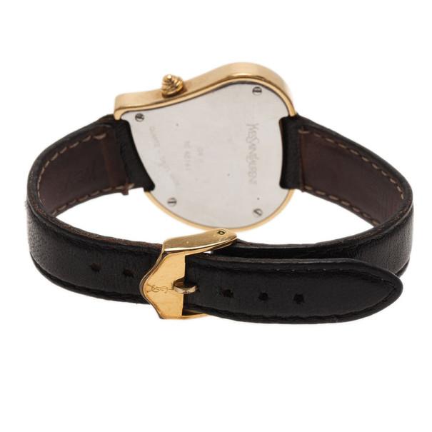 Saint Laurent Paris White Gold-Plated Steel Heart Women's Wristwatch 26MM