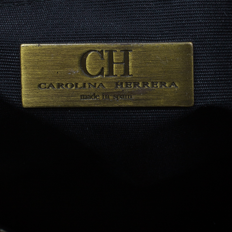 Carolina Herrera Black Leather Small Monogram Chain Handle Tote