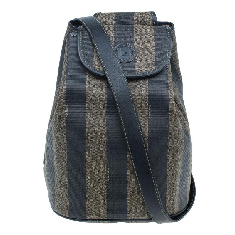 Fendi Vintage Coated Canvas Pequin Cross Over Backpack
