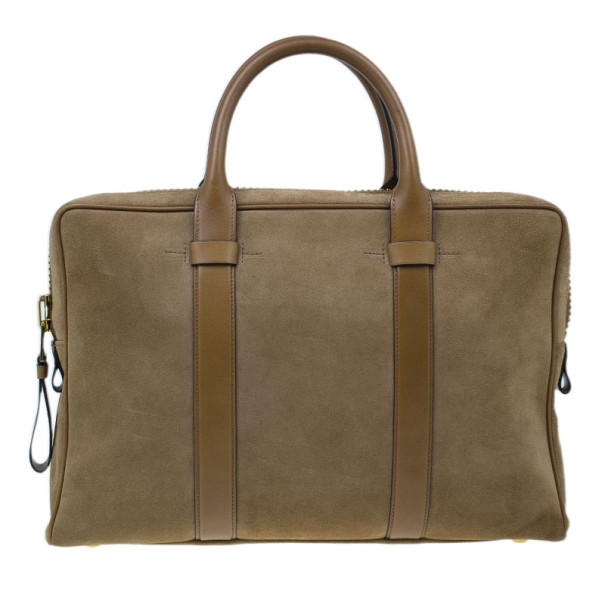 Tom Ford Brown Suede Buckley Flat Trapeze Briefcase