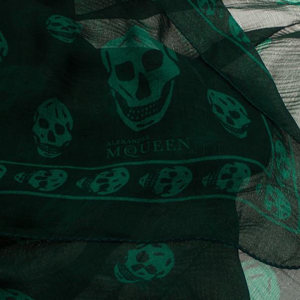 Alexander McQueen Green Chiffon Skull Scarf