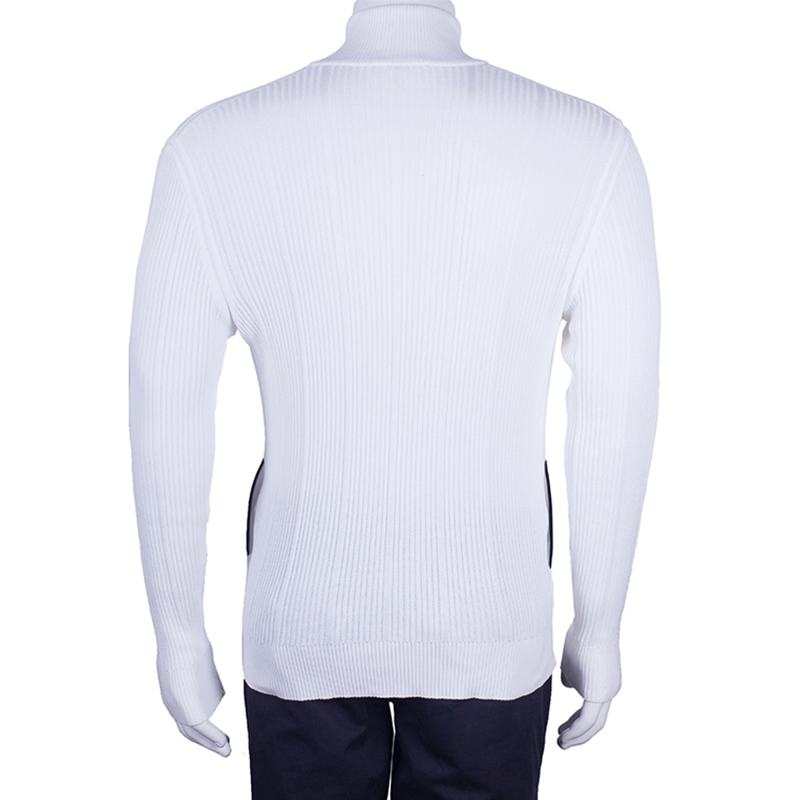 Brioni Men's White Rib Knit Cardigan M