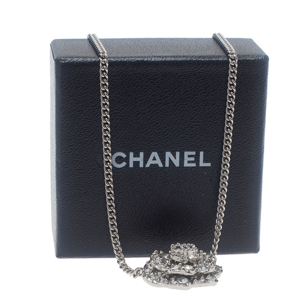 Chanel Crystal Camellia Pendant Necklace