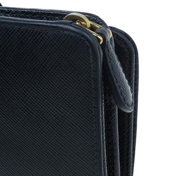 Prada Black Saffiano Leather Compact Lampo Wallet
