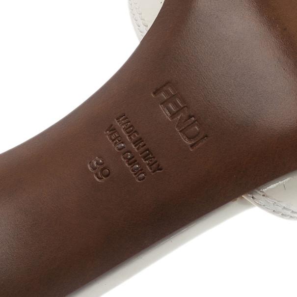 Fendi White Patent B Buckle Slides Size 39