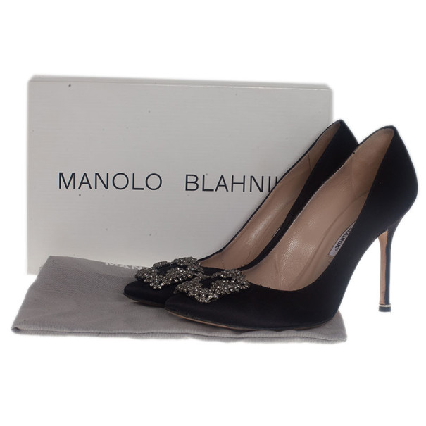 Manolo Blahnik Black Satin Hangisi Embellished Pumps Size 39.5