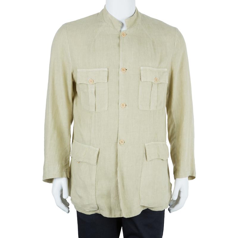 Z Zegna Men's Beige Linen Jacket L