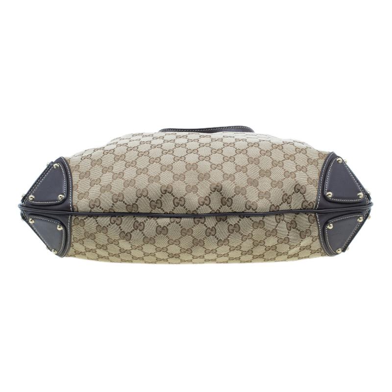 Gucci Beige Monogram Canvas Large Indy Top Handle Bag