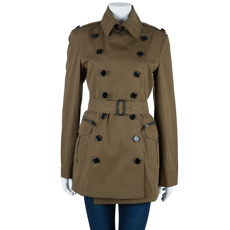 Burberry Khaki Cotton-Gabardine Trenchcoat S