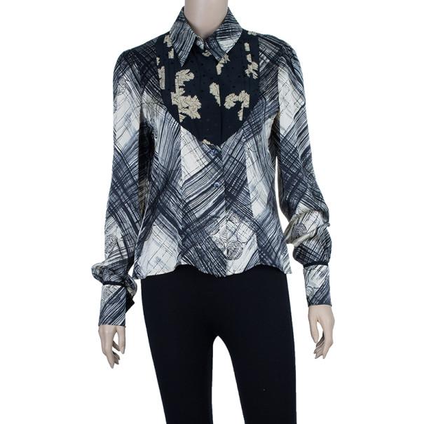 Kenzo Pleated Printed Silk Shirt Top M