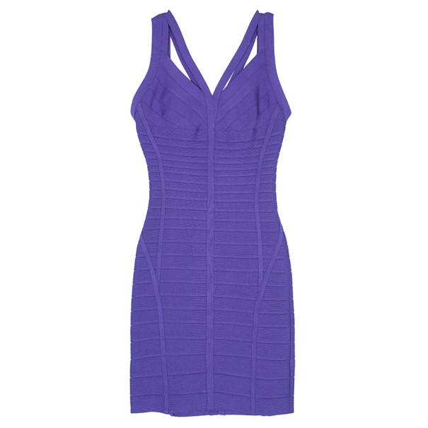 Herve Leger Purple Cutout Bandage Dress M