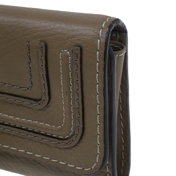 Chloe Nut Grained Leather Marcie Continental Wallet