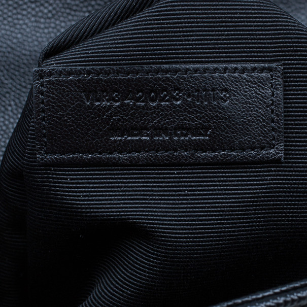 Saint Laurent Black Leather Large Chevron Cassandre Shoulder Bag