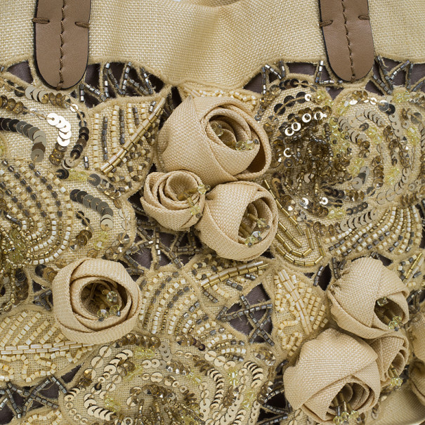 Valentino Camel Canvas Small Sequin Beaded Floral Applique Tote