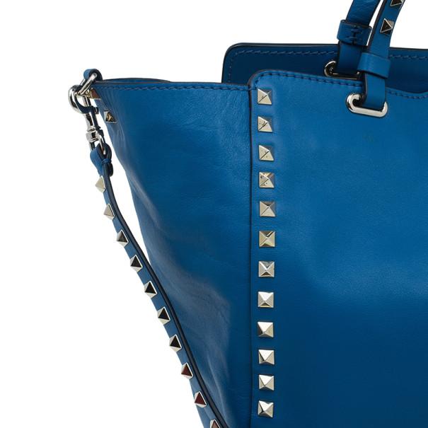 Valentino Blue Leather Rockstud Trapeze Bag