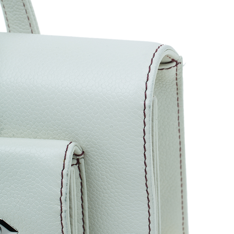 Chanel Off White Leather Double Pocket Satchel Bag