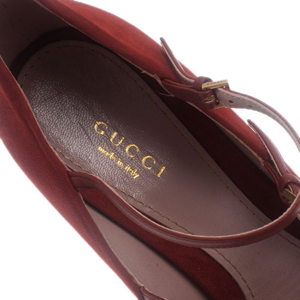 Gucci Red Suede Multi Strap Lisbeth Platform Pumps Size 40