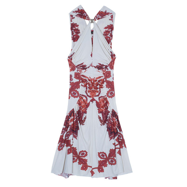 Roberto Cavalli Abstract Print Ruched Dress M