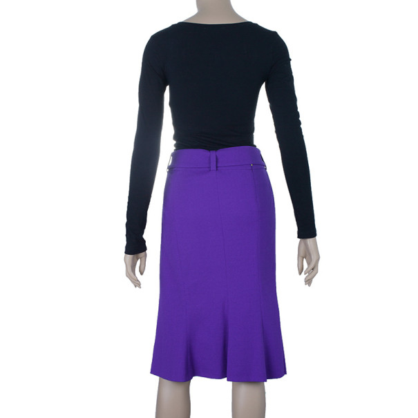 Roberto Cavalli Purple Snake Belt Skirt M