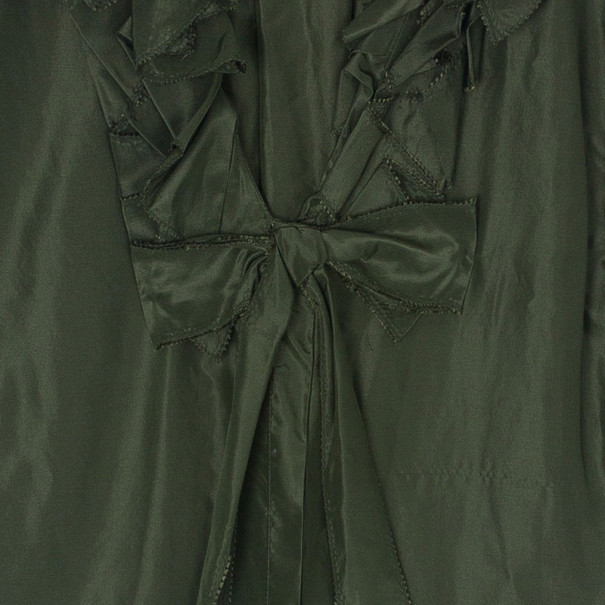 Oscar de la Renta Olive Green Silk Ruffle Top XL