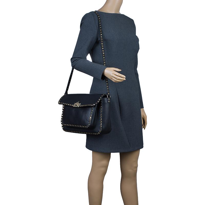 Valentino Black Leather RockStud Flap Crossbody Bag