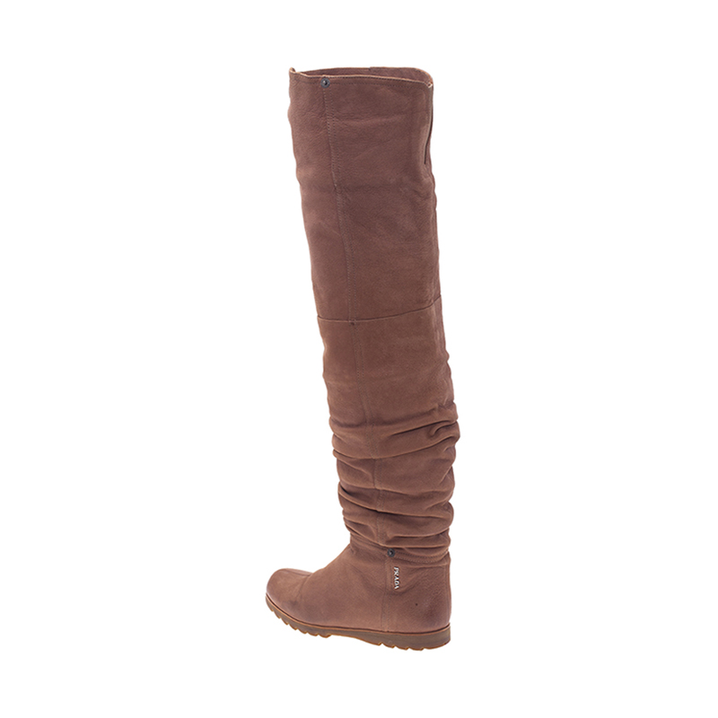Prada Sport Brown Leather Slouched Over The Knee Boots Size 37