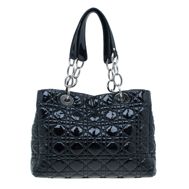 Dior Black Cannage Quilted Patent Leather Small Dior Soft Shopping Tote