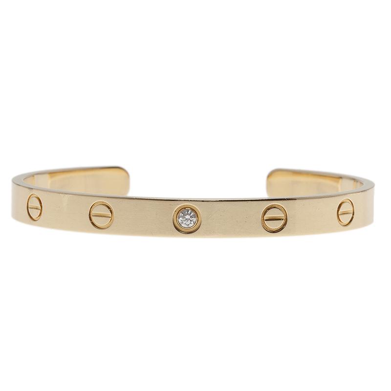 Cartier Love 1 Diamond Yellow Gold Open Cuff Bracelet