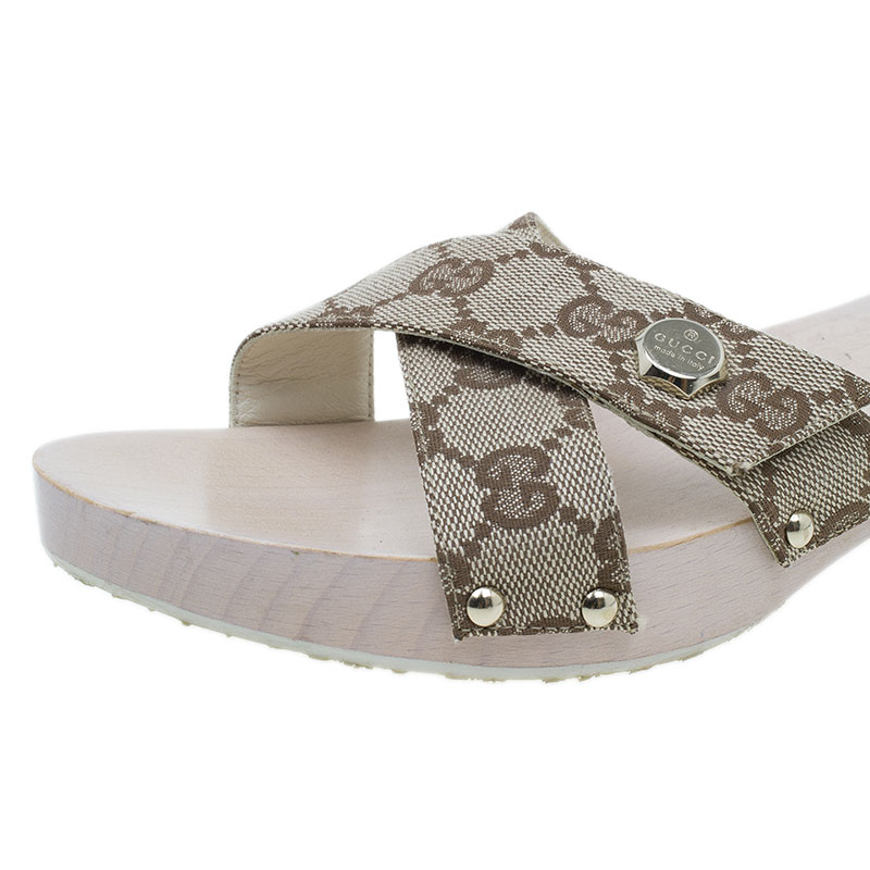 Gucci Beige Guccissima Canvas Criss Cross Wooden Clogs Size 38