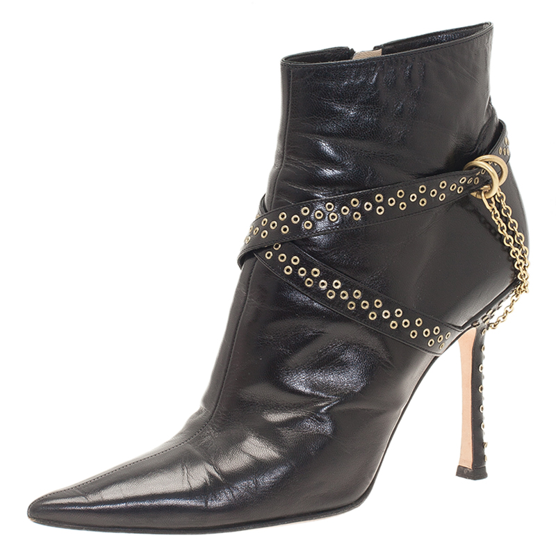 Jimmy Choo Black Leather Grommet Strap and Chain Detail Ankle Boots Size 38.5