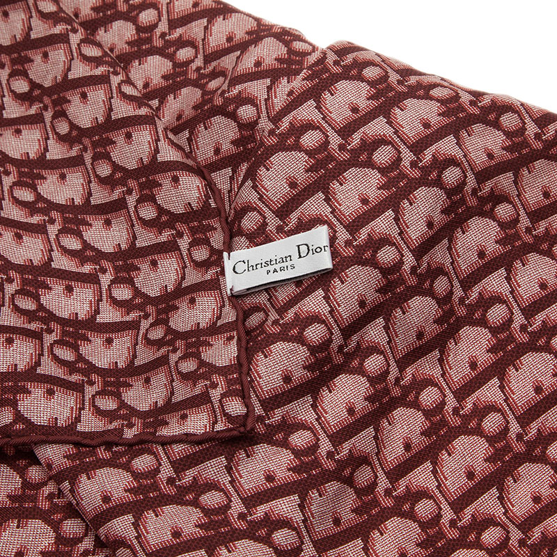 Dior Burgundy Monogram Silk and Leather Strap Detail Stole